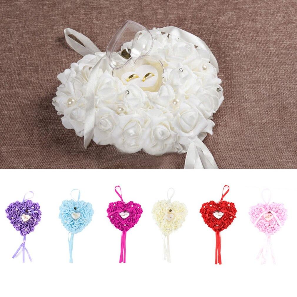Romantic Heart shaped Wedding Ring Pillow Rose Wedding Favors Ring ...