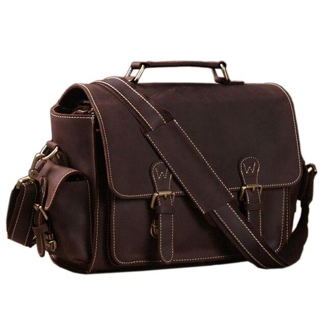 Vintage Crazy Horse Leather Camera Bag Men Briefcase 100 Genuine Shoulder Crossbody