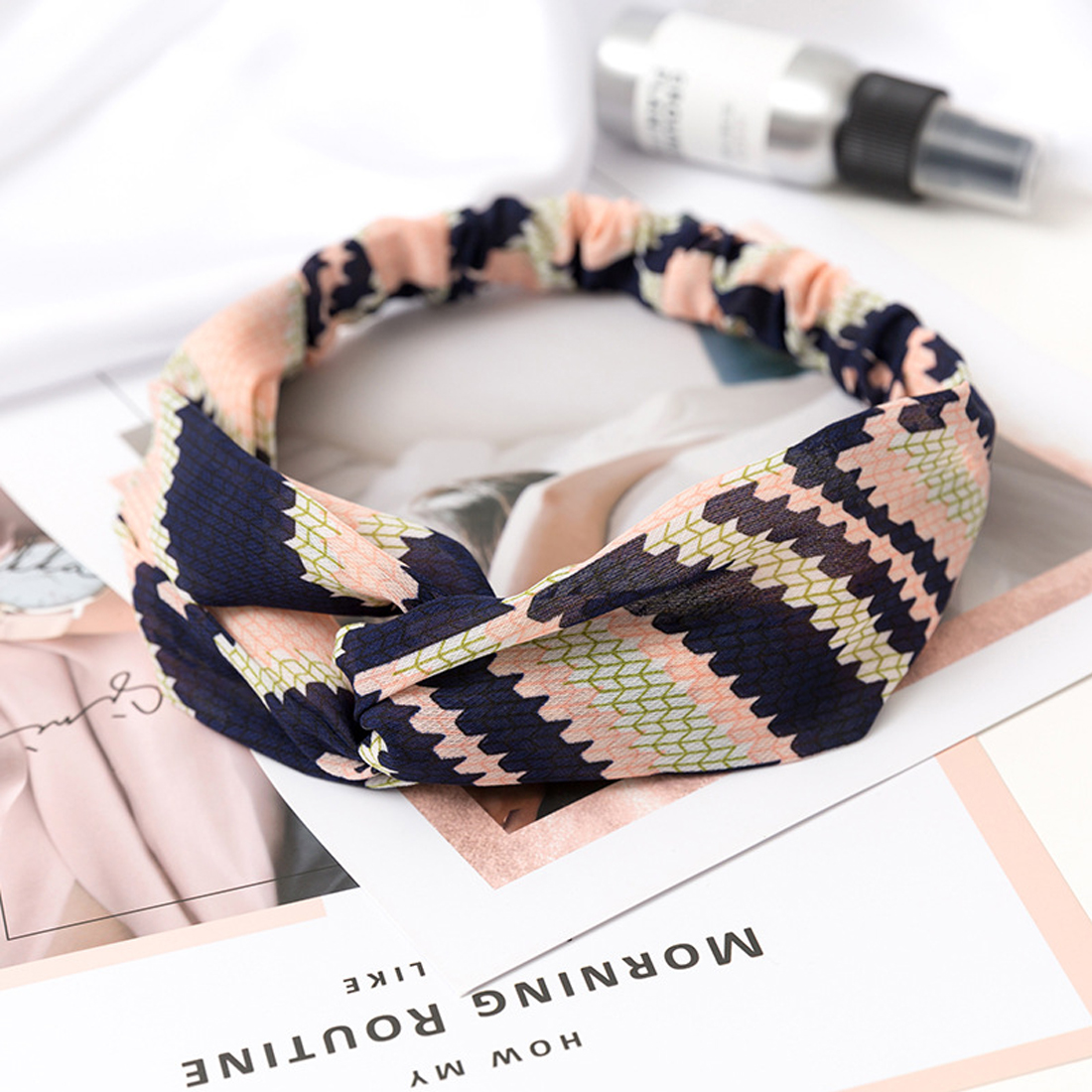 Women Beach Knotted Headband Vintage Elastic Stretch Hairband Bow Hair Hoop Knot Turban Satin Flower Printed Accessories