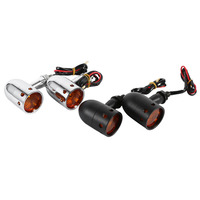 1 Pair Motorcycle Amber LED Retro Running Turn Signal Tail Light Lamp Motocicleta Lights Silver Black