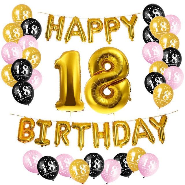 happy birthday 18 ZLJQ 18th Happy Birthday Party Balloons, Supplies & Decorations 33  happy birthday 18