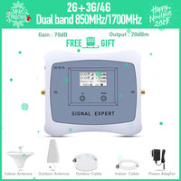 Full smart dual band 2g 3g 4g mobile signal booster 850/1700mhz cell phone signgal repeater amplifier with LCD display kit