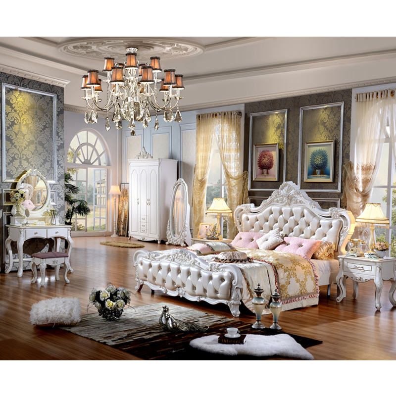French Elegant home furniture large bed with soft mattress ... on New Model Bedroom  id=11791