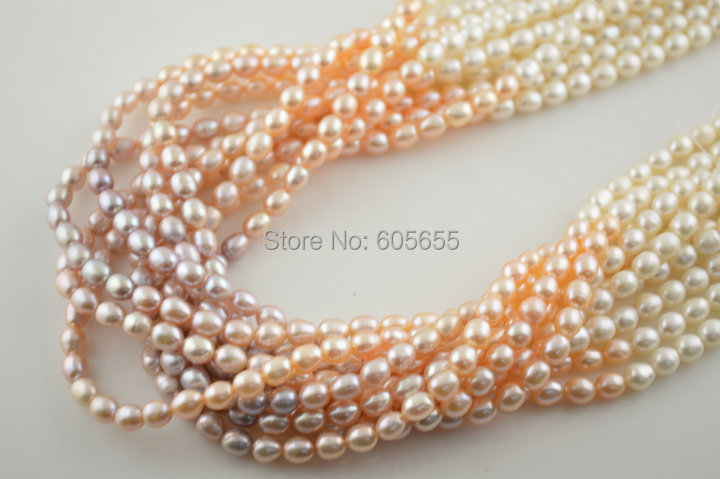High Quality Mix Natural Color 5~6mm Fresh Water Pearl Rice Loose Beads Fashion Jewelry Making 5 strands per lot