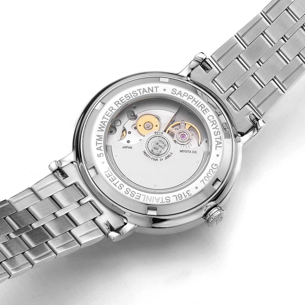 NAKZEN мужские классические автоматические механические часы брендовые роскошные мужские наручные часы из нержавеющей стали часы мужские ча... - 5