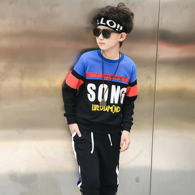Retail 2pcs Brand New Design Handsome Boys Autumn Patchwork Pullover+Black Harem Pant For Boys Tracksuit Kids Sport Suit Sets
