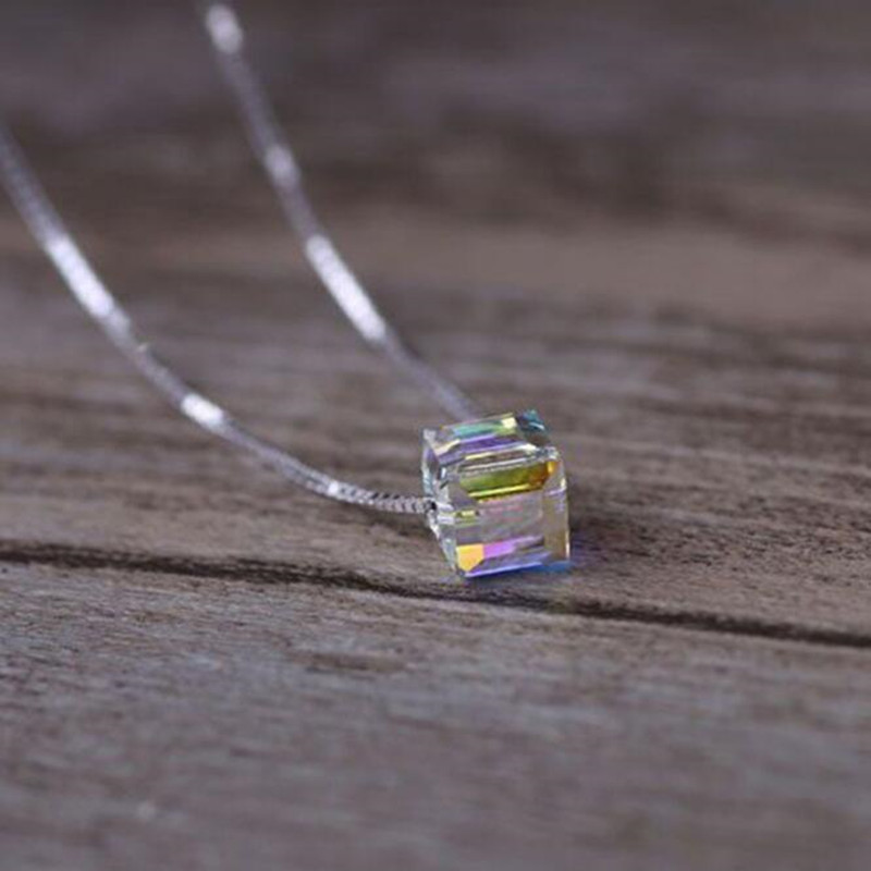 New 925 Sterling Silver Jewelry Fashion Genuine Light Candy Square Crystal Clavicle Chain Female Pendant Necklace  H293
