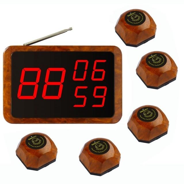 SINGCALL. Wireless hotel service system, 5 одной кнопки цвет древесины пейджеры и 1 фиксированный хост приемник