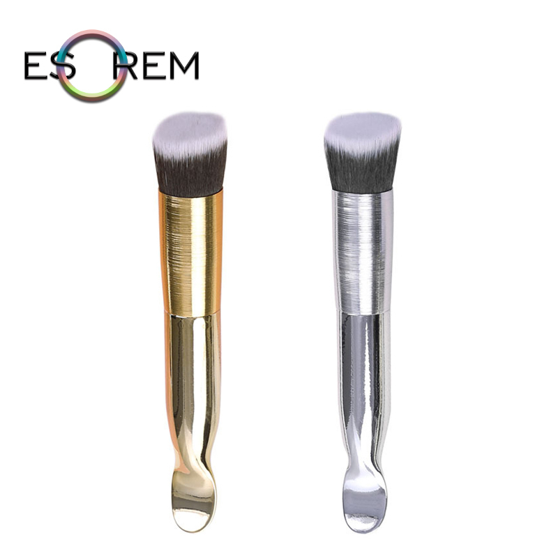 ESOREM Spoon Shape Handle Makeup Brushes Metallic Cosmetic Brush Wiredrawing Tube Foundation Pinceaux Maquillage X719
