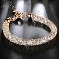 Mytys Rose Banhado A ouro pulseira Cadeia Net Tubo De Malha de Arame Cadeia GP Cubic Zirconia Mulheres Presente jóias B257