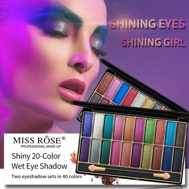 20 colores brillante sombra de ojos húmedos a prueba de manchas resistente al agua brillo de polvo húmedo sombra de ojos metálicos maquillaje