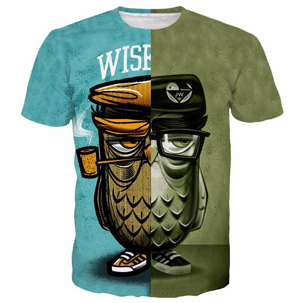 2017 New Fashion men women Cool T-shirt 3d Print Smoking eagle Sticky Short Sleeve Summer Top Tee Hot style Stylish clothling