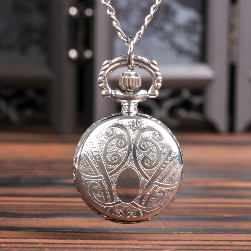 0   Silver Fruit Small Apple Pocket Watch Double-sided Pattern Hanging Chain Watch Watch Boy Girl Small Gift Pocket Watch