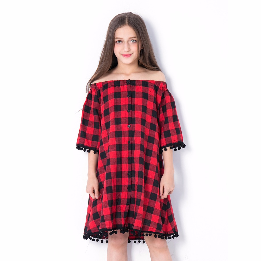 Girl summer off shouder dress red plaid children clothing dresses for teen 6 8 10 12 14 years loose strapless fashion kids dress in Dresses from Mother Kids