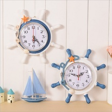 High Quality Desktop Clock Sailor Rudder Grabber Digital Alarm Clock Home Decoration Mediterranean Sea Wooden Wall Clock