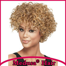 Medusa hair products: Synthetic wigs for women Modern shag styles Short curly Mix color wig with bangs Perruque courte SW0120B