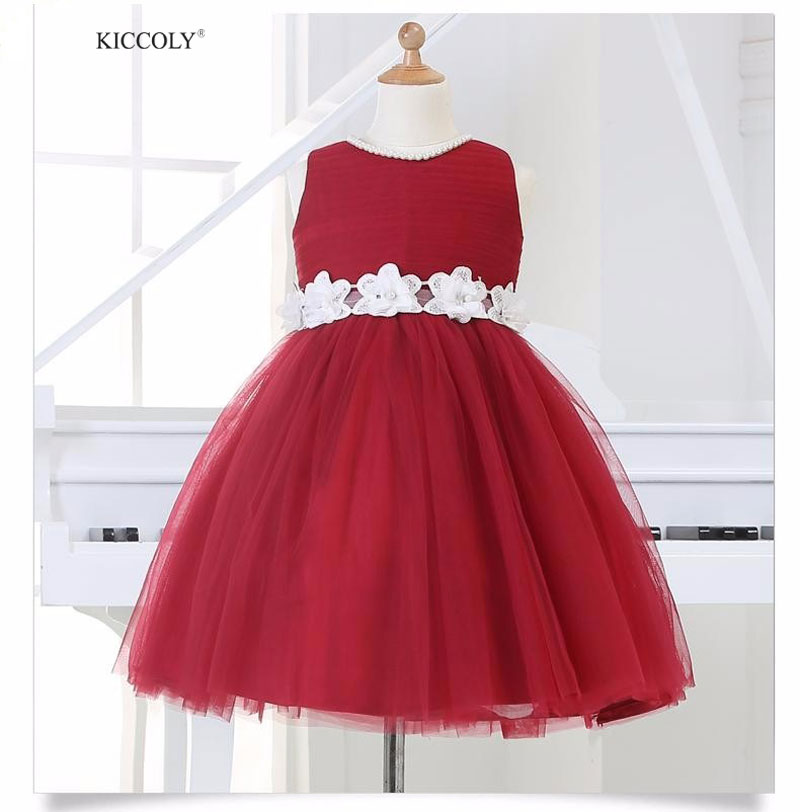 Hot Sale Red Tulle Ball Gown Baby Girl Wedding Birthday Dress Flower Girl Dresses With Handmade Flowers Belt 12M 12Y