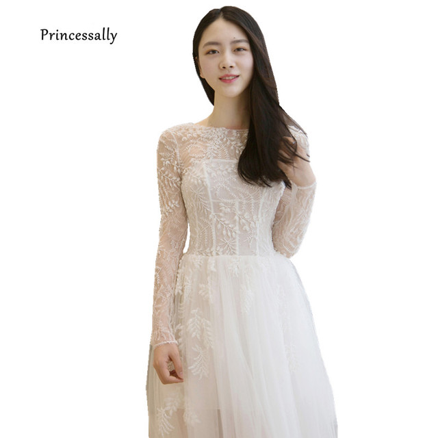 5c6e5b6d18a New Elegant Lace Beach Wedding Dress For Traveling Tea length Sexy Backless Long  Sleeve Illusion Simple Bride Marriage Prom Gown