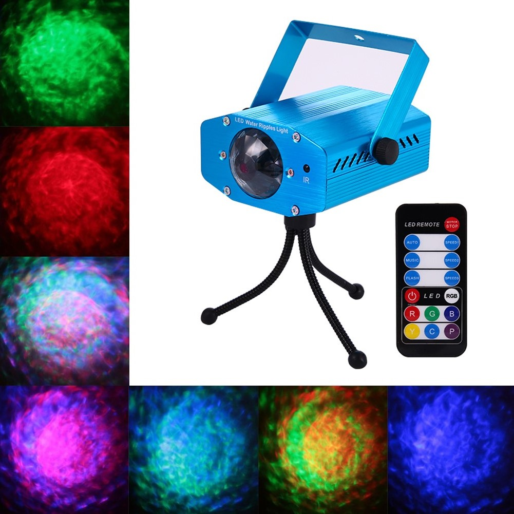 LumiParty LED 7 Color Remote RGB Water Wave Ripple Effect Stage Light Ocean Wave Night Light Projector for Party Dj Show KTV