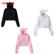 Женский пуловер с капюшоном и кошачьими ушками Осенний короткий