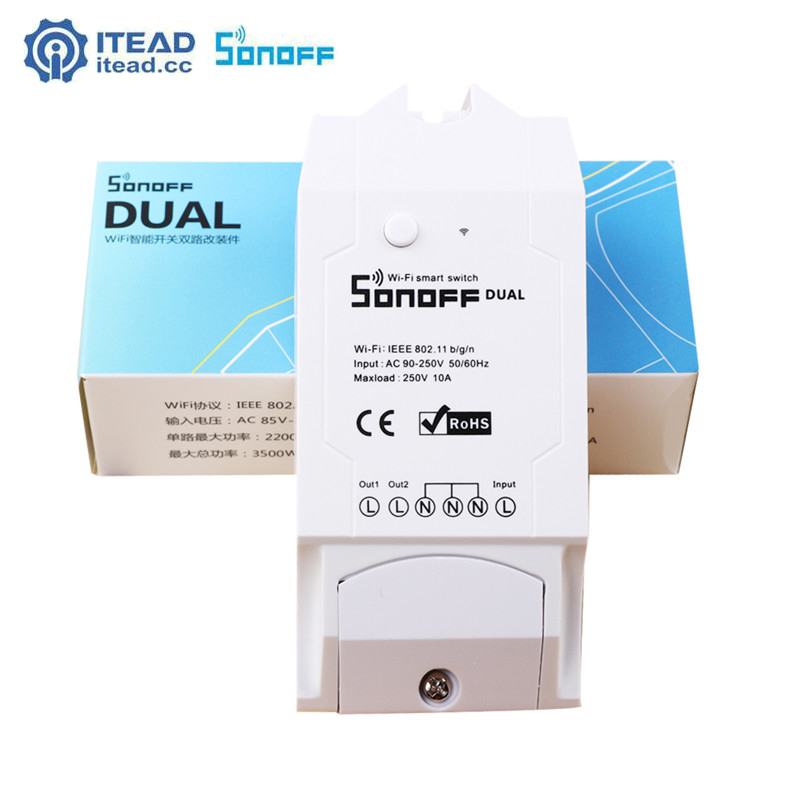 Itead Sonoff Dual 2CH Wifi Smart Switch Wireless Remote Control Timer Switch APP Control for Universal Home Automation AC90-250V ac 250v 20a normal close 60c temperature control switch bimetal thermostat