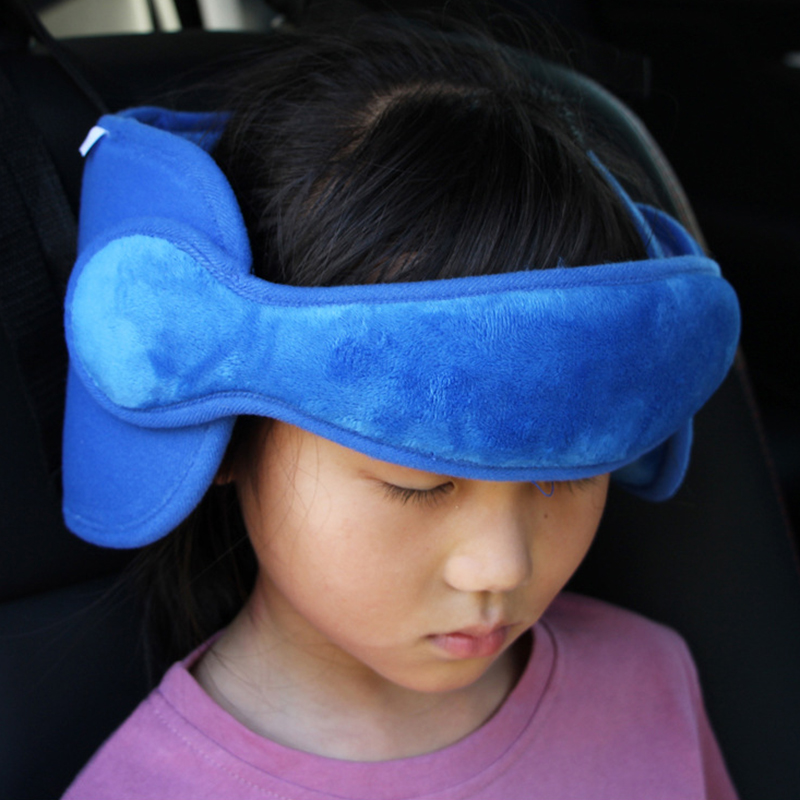 Blue Qii lu Car Seat Safety Headrest Pillow Sleeping Head Support Pad Fixing Band for Kids Baby