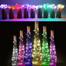 2m Copper Wire led string Light with Bottle Stopper for Glass Craft Bottle Fairy light Valentines Wedding Decoration Lamp Party(China)