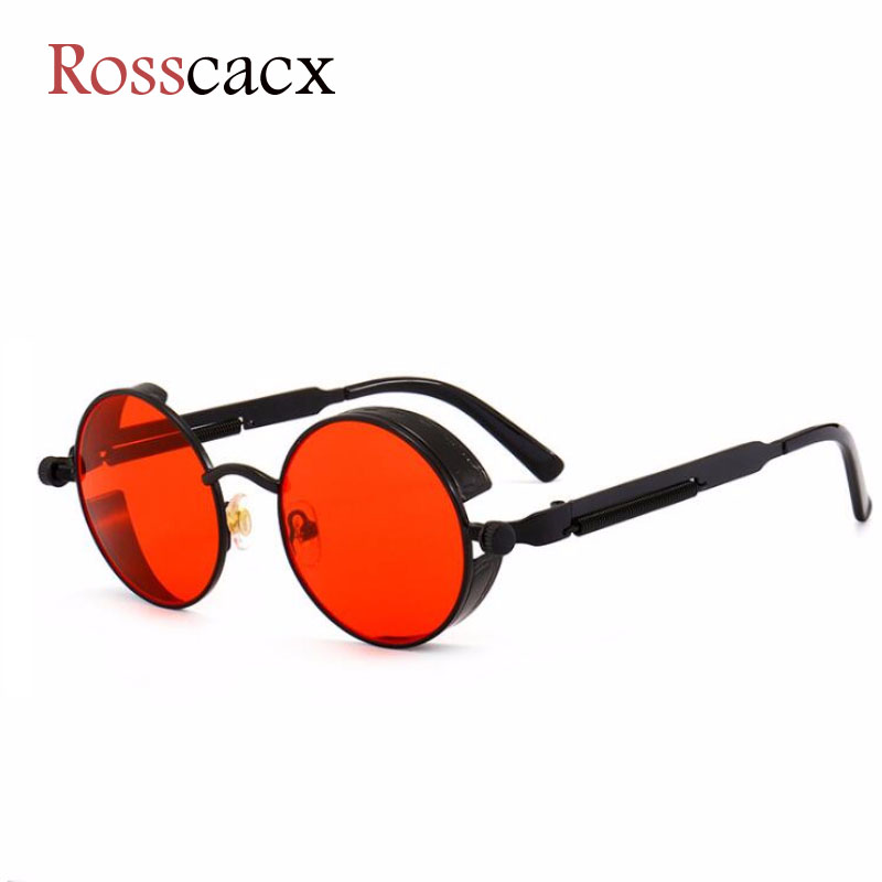 Rosscacx Luxury Steampunk Sunglasses Men Women Round Metal Fashion Sun Glasses Brand Designer Retro Lentes Oculos De Sol