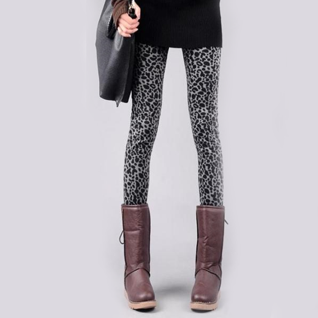 Fashion Women Leggings Female Legging Knitted Thick Warm Women Leggins Show Slim Jeggings Gimnasio Slim Leopard Winter Clothing