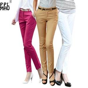 Image 1 - Casual Plus Size 4XL Office Pencil Pants Women 2019 Factory Wholesale Cheap 95%Cotton Stretch Trousers Women Work Pants Ladies