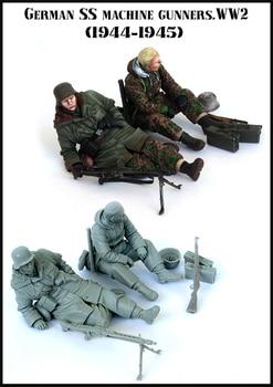 1/35 Kit de modelo de figura de resina de la Segunda Guerra Mundial alemán máquina SS artilleros Unassambled sin pintar