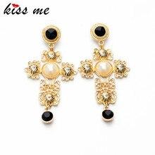 KISS ME 2014 Statement Trendy Jewelry Elegant Shiny Resin Stone Cross Earrings Factory Wholesale