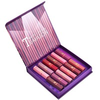 TEAYASON 12pcs/set Nude Matte Lipstick for Lips Waterproof Long Lasting Lip Makeup Velvet Red Tint Lipstick Make Up Kits Gifts