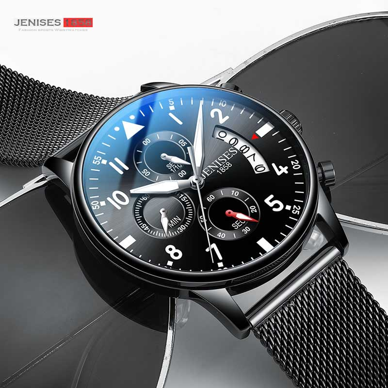 JENISES Men Watch Top Brand Luxury Quartz Watch Men Fashion Military Waterproof Chronograph Sport Watches Saat Relogio Masculino(China)
