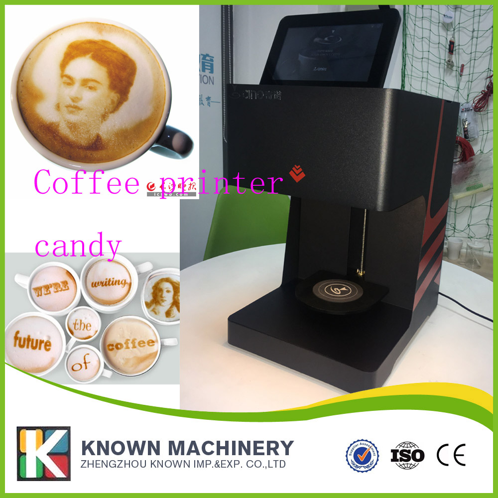 wifi version automatic biscuit cake coffee printer printing machine with brown color the best selling kn qn1 3d digital coffee printer selfie coffee vending printer machine with phone use directly