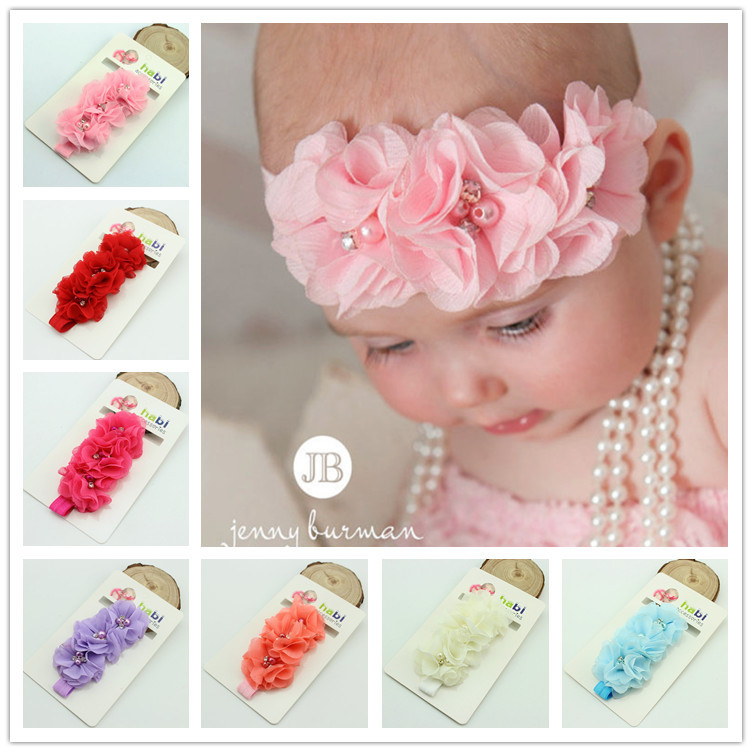 1 pieces fashion baby headband chiffon pearl diamond flower with a shimmer Headbands Baby Flower Headbands hair accessories