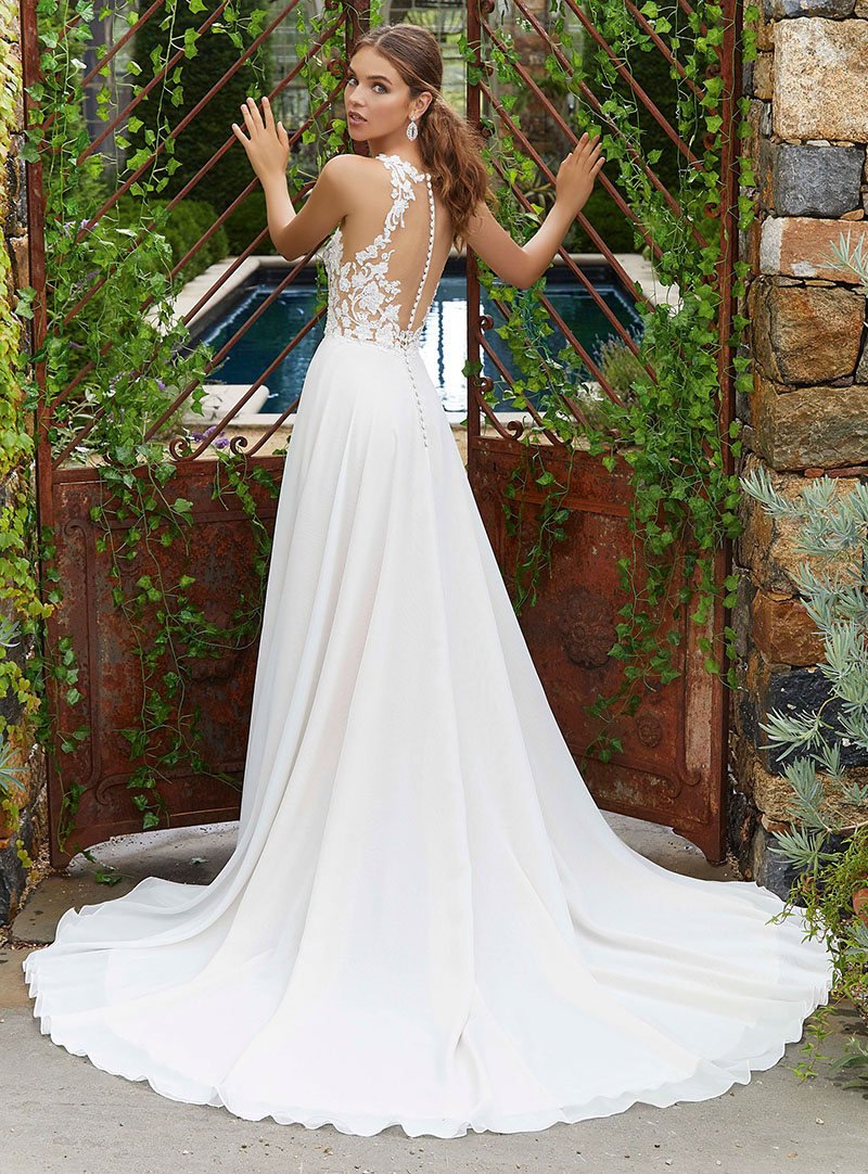 LORIE Sexy Wedding Dress Boho Chiffon Buttons Back White Wedding Dress Appliques Lace 2019 Princess Bride Dress Floor Length in Wedding Dresses from Weddings Events
