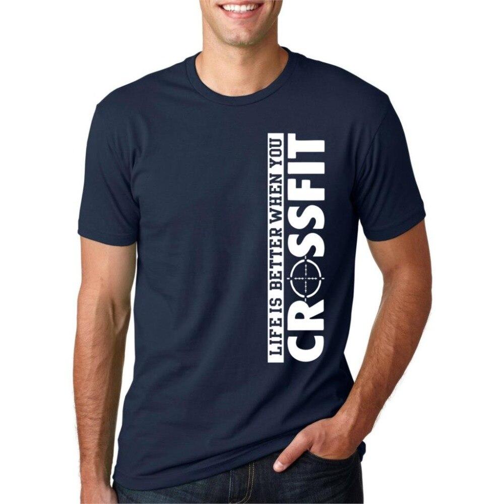 Nouvelle Arrivee Lettre Imprimer T-Shirt Vie Est Mieux Quand Vous Crossfit 2017 Dete Streetwear T Chemises Hommes Manches Court