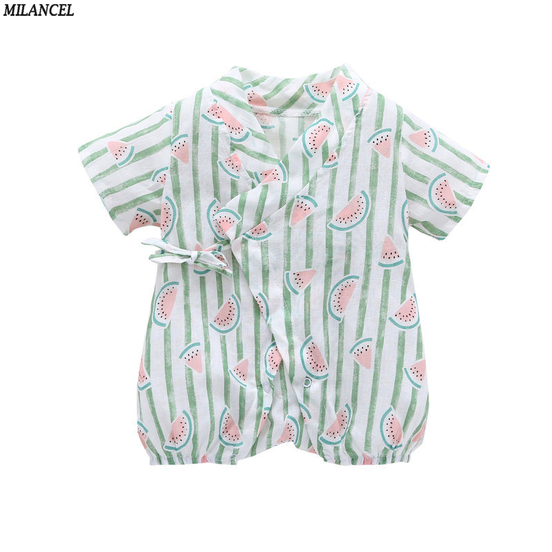 6498ffd81a3e MILANCEL 2018 Baby Rompers Cotton Linen Baby Girls Rompers Short Sleeve  Toddler Boys Jumpsuits Summer Baby Clothing Boys Rompers-in Rompers from  Mother ...