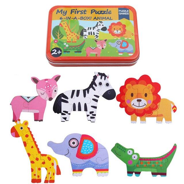 Juguetes de bebé 6 en 1 caja de hierro animales de dibujos animados rompecabezas de madera para niños Montessori juguetes educativos temprano regalos para niños CX899067