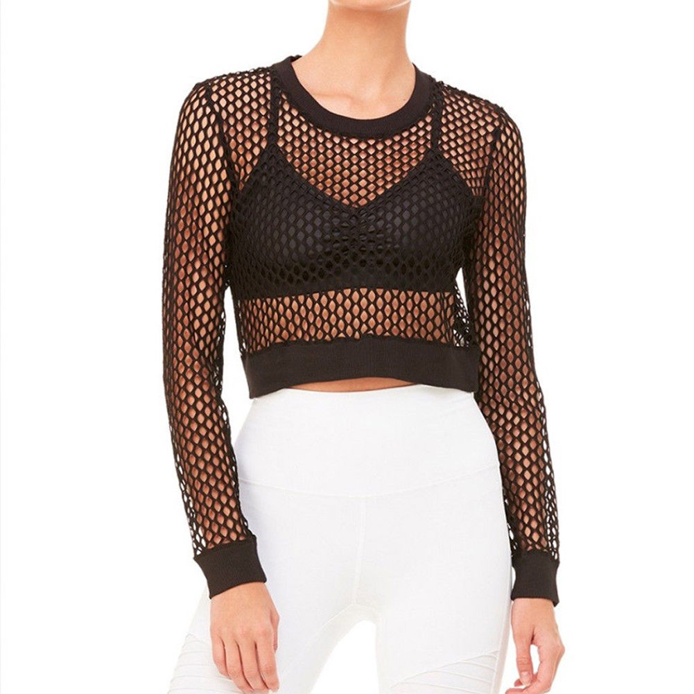 17994a0993a 2018 Latest Style Women Sexy Mesh See Through Sheer Clubwear Party Long  Sleeve Blouse Fashion Shirt Crop Tops Hot