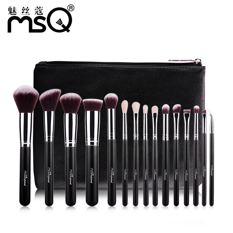 MSQ 15pcs Professional Makeup Brushes Set High Quality Goat Hair Highlighter Eyebrow Blush Brushes With PU Leather Case msq 15pcs rome style print makeup brushes set with storage bag
