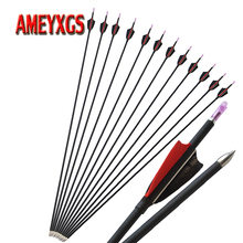 12pcs Archery 30inch Spine 1000 Mix Carbon Arrow With Shield Shape Turkey Feathers For Compound Recurve Bow Shooting Accessories