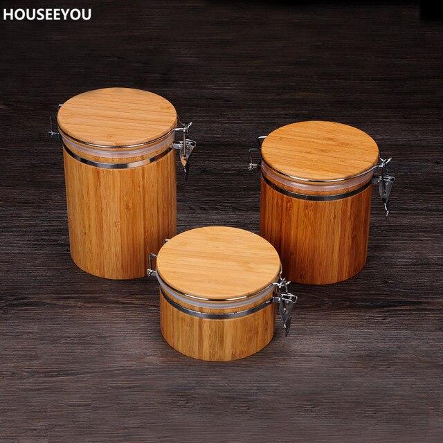 Gläser Aufbewahrungsboxen natürliche bambus abdeckung versiegelt aufbewahrungsboxen dosen