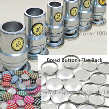 Fabric Self Covered Cover Button Press Machine Die Mold Tools+100 set Flat Back Fabric Cloth Button16L-80L