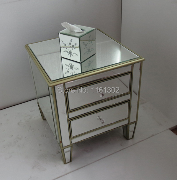 Buy Gold Rimming Mirrored Furniture Night Stand Side Table From Reliable