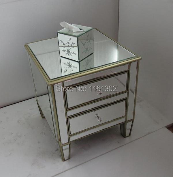 Oro rimming espejo muebles de noche / mesa auxiliar en Cómodas de ...