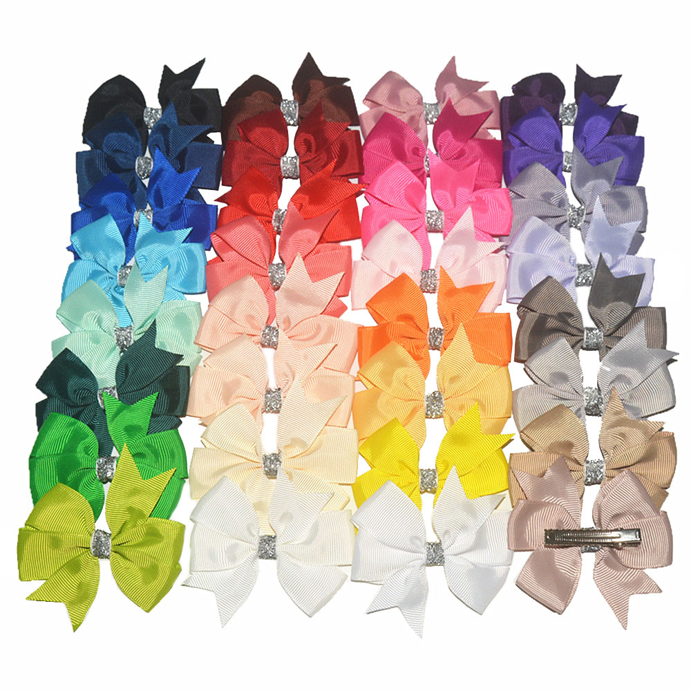 200pcs lot High Quality Alligator Hairpin with 3 Glitter Centered Grosgrain Ribbon Bows 32 Color Available