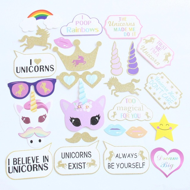 Aliexpress buy 26pcslot diy unicorn christmas photo booth 26pcslot diy unicorn christmas photo booth props with paper straws stick crafts circus birthday solutioingenieria Image collections