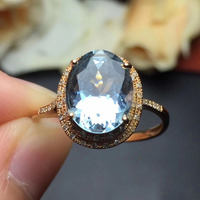 Fine Jewelry Cristmas Gift real 18K Rose Gold 100% Top grade natural Aquamarine ring for women fine jewelry fine rings